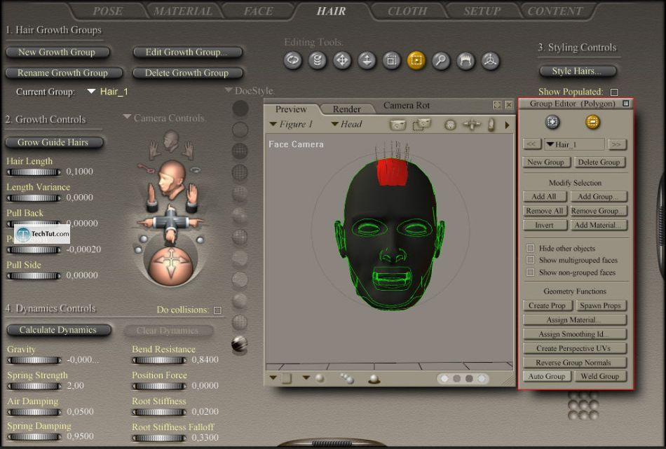 Creating hair in Poser