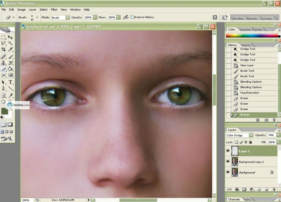 Photo retouch add makeup and create clear face in Photoshop
