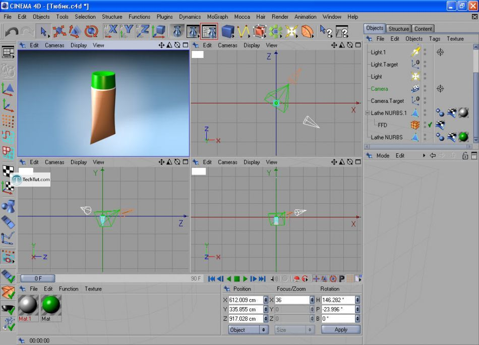 How to create a cream tube in Cinema 4D